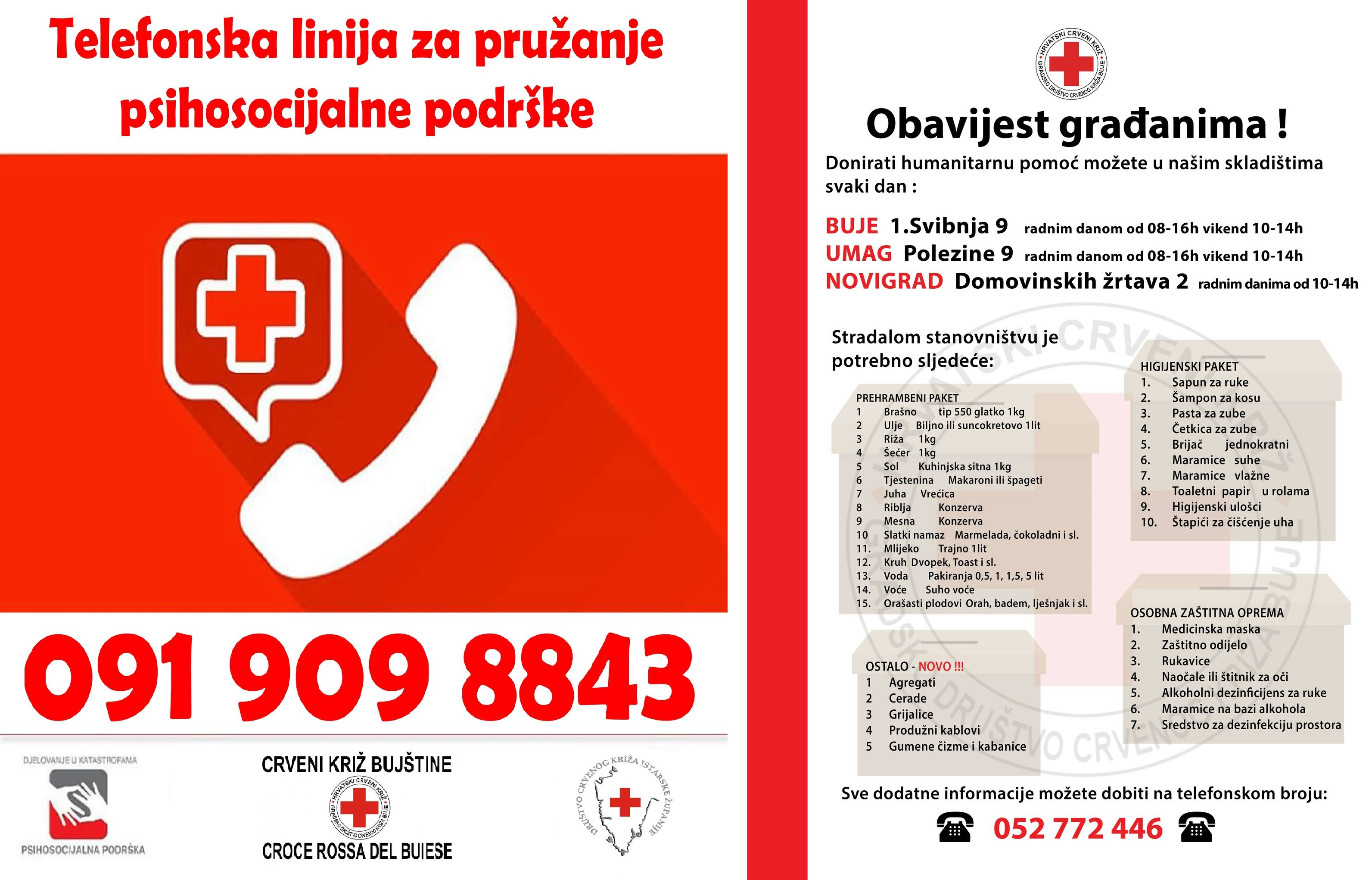 Crveni križ Bujštine objavio aktualne potrebe za humanitarnom pomoći i uveo telefon za psihološku pomoć